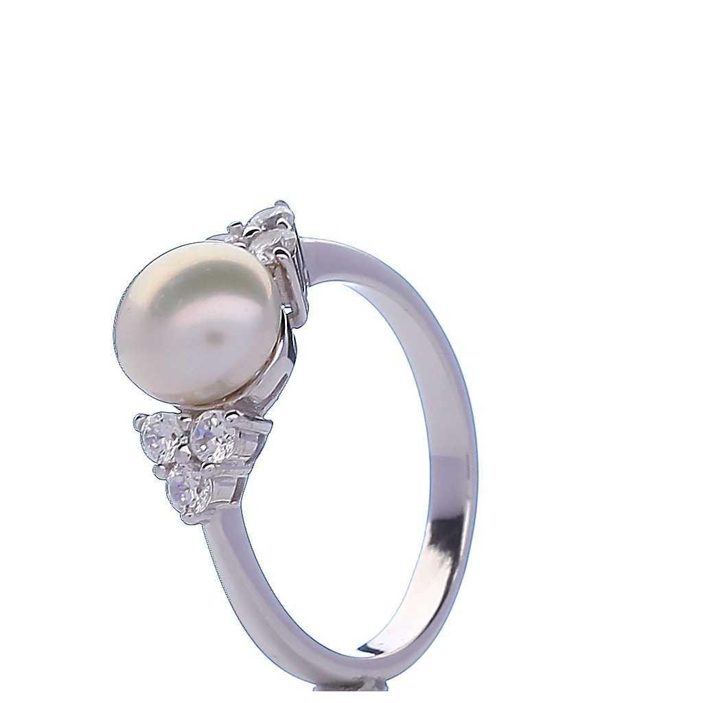 Sidabrinis žiedas su perlu ir cirkoniais - Sidabriniai žiedai - Goldinga