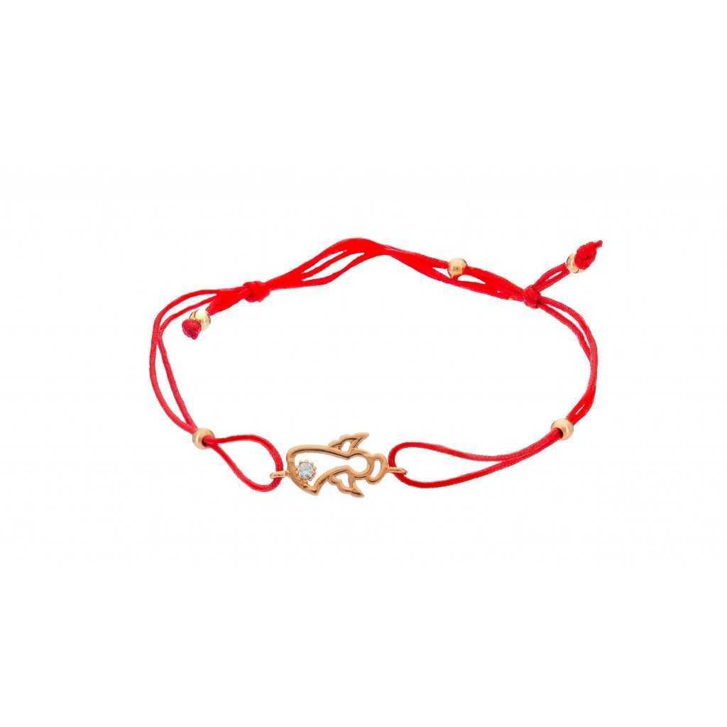 """Raudono siūlo apyrankė su auksiniu pakabuku """"Angelas"""" 00479 - Auksinės apyrankės - Goldinga"""