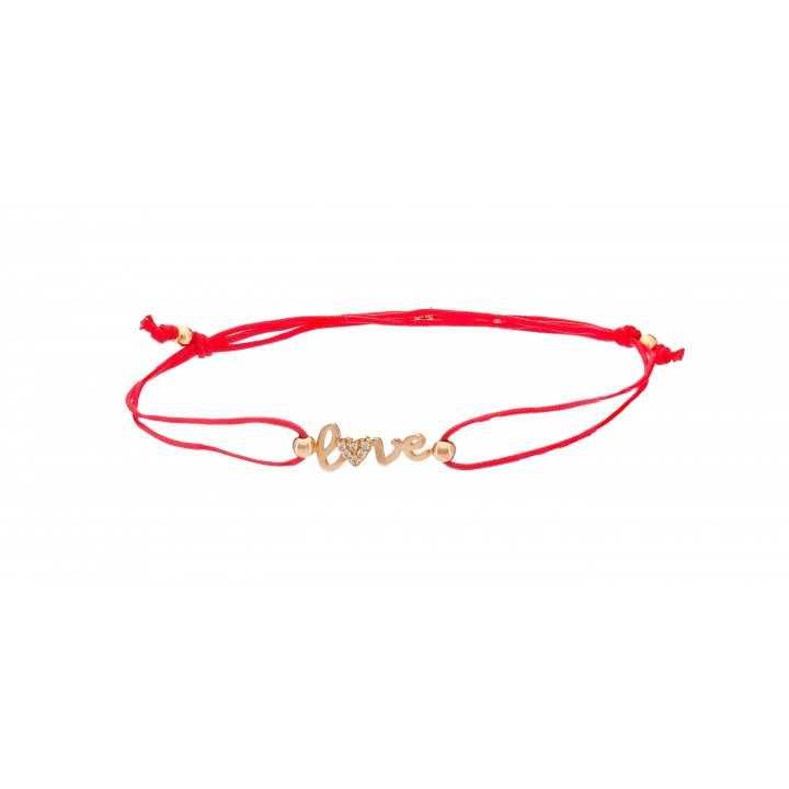 """Raudono siūlo apyrankė su auksiniu pakabuku """"Love"""" 00549 - Auksinės apyrankės - Goldinga"""