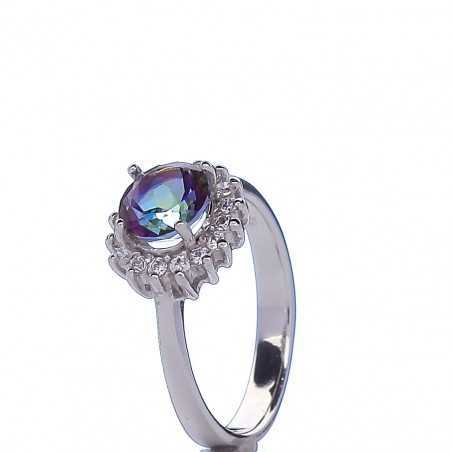 Sidabrinis žiedas su Mystic akmeniu - Sidabriniai žiedai - Goldinga