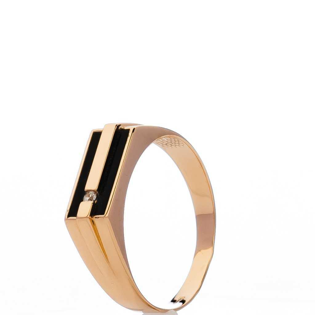 Auksinis žiedas su oniksu ir cirkoniu - Auksiniai žiedai - Goldinga