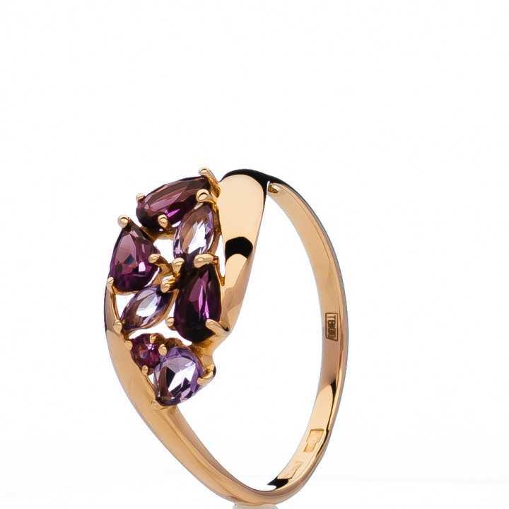 Auksinis žiedas su ametistais ir rodolitais - Auksiniai žiedai - Goldinga