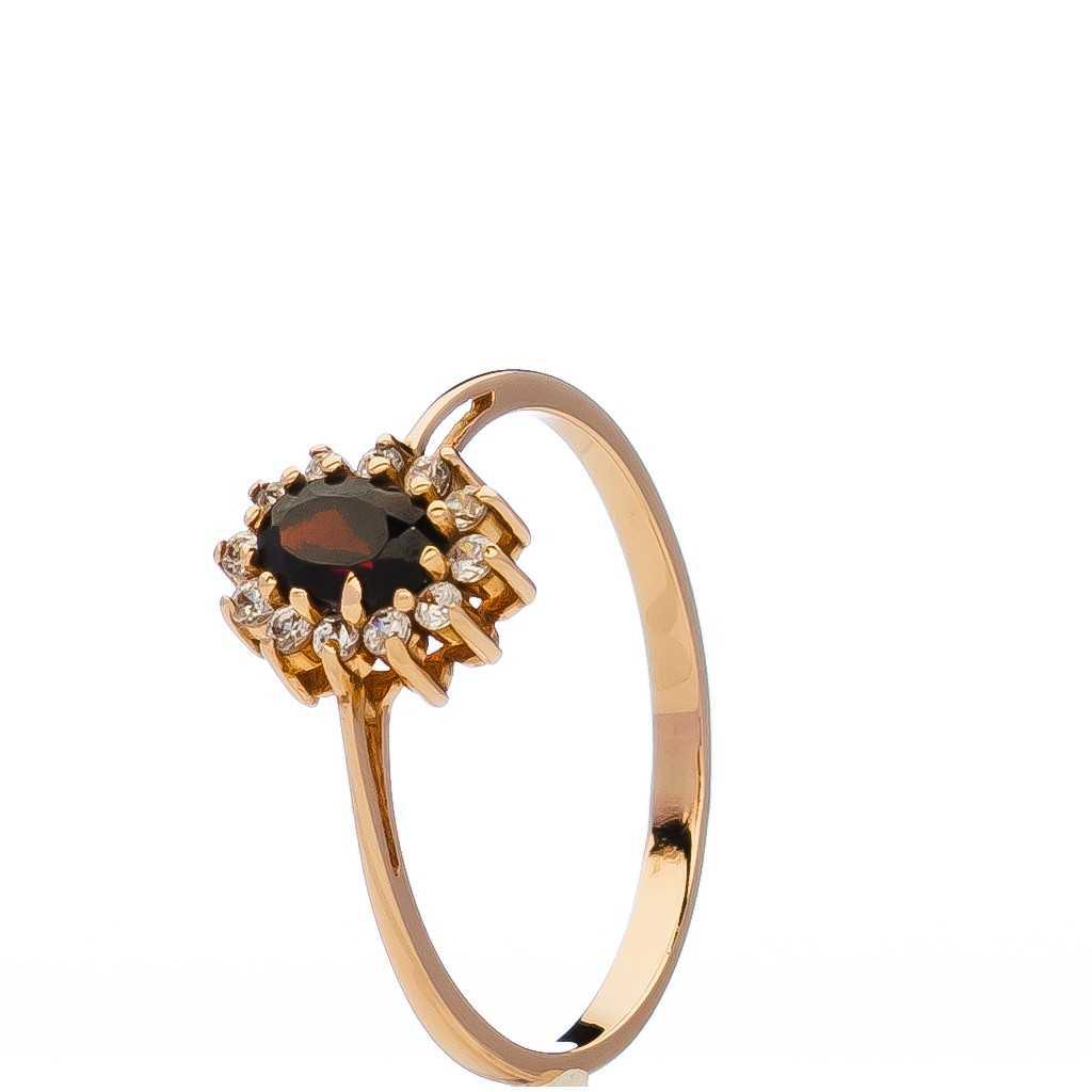 Auksinis žiedas su cirkoniais ir granatu - Auksiniai žiedai - Goldinga