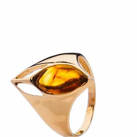 Auksinis žiedas su gintaru - Auksiniai žiedai - Goldinga