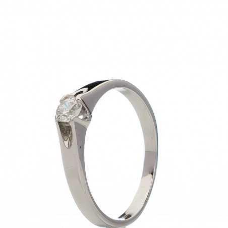 Balto aukso žiedas su cirkoniu - Auksiniai žiedai - Goldinga
