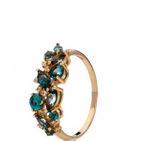 Auksinis žiedas su London topazais ir cirkoniais - Auksiniai žiedai - Goldinga