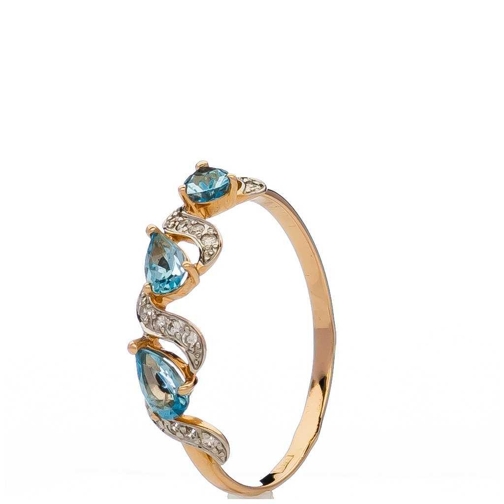Auksinis žiedas su topazais ir cirkoniais - Auksiniai žiedai - Goldinga