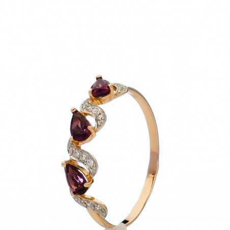 Auksinis žiedas su rodolitais ir cirkoniais - Auksiniai žiedai - Goldinga