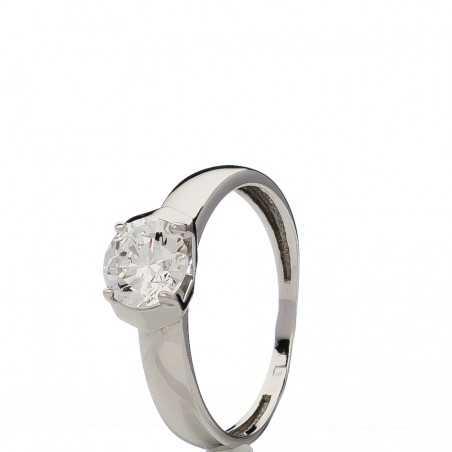 Balto aukso žiedas su swarovski kristalu - Auksiniai žiedai - Goldinga