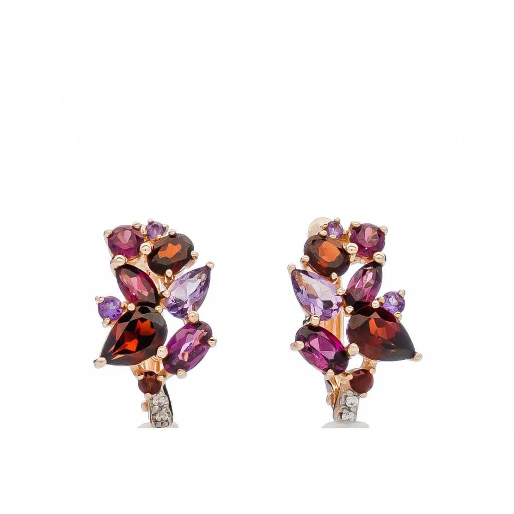 Auksiniai auskarai su ametistais ir rodolitais - Auksiniai auskarai - Goldinga