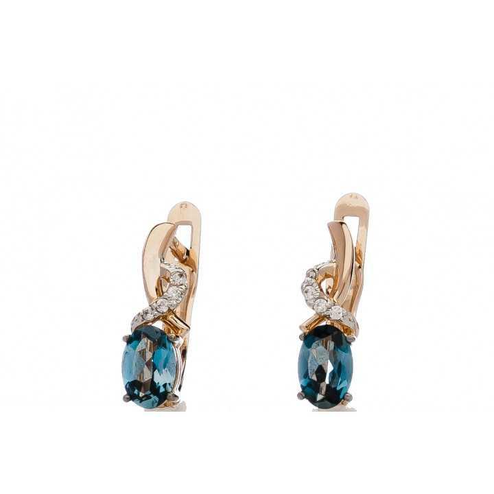 Auksiniai auskarai su london topazu ir swarovski kristalais - Auksiniai auskarai - Goldinga