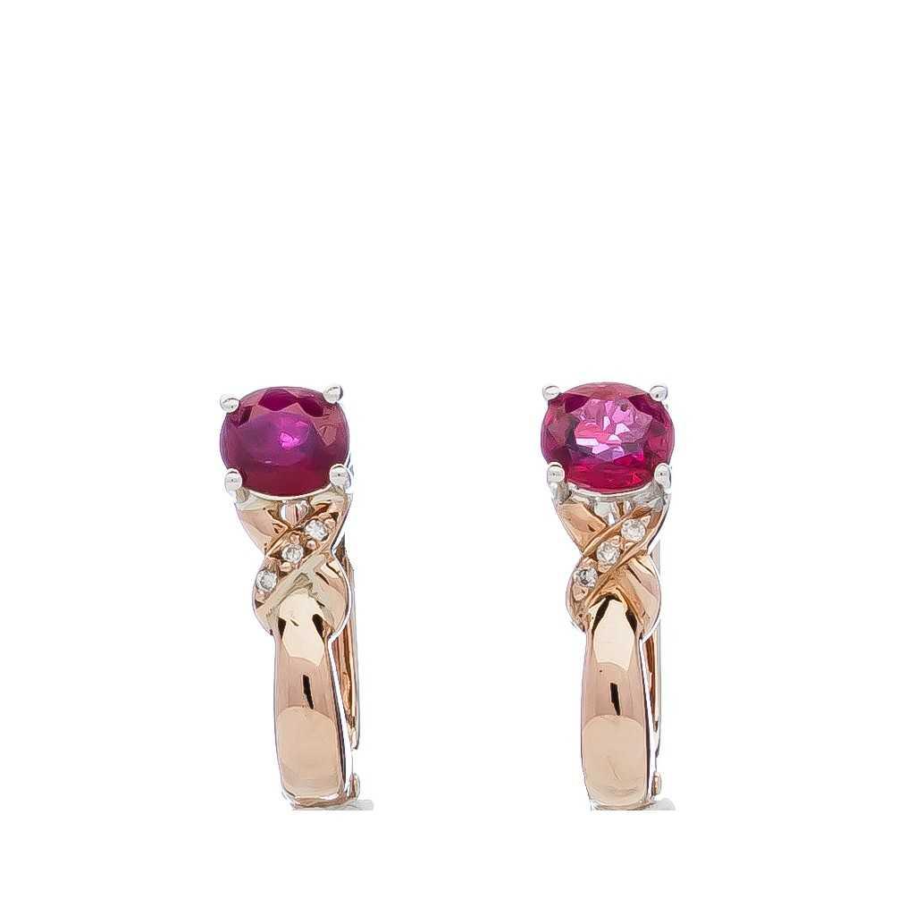 Auksiniai auskarai su rubinais ir briliantais - Auksiniai auskarai - Goldinga