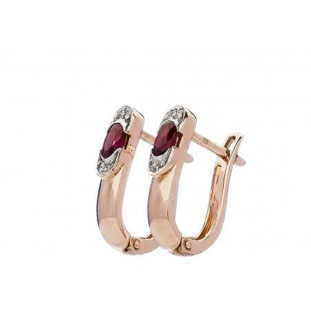 Auksiniai auskarai su rubinu ir briliantais - Auksiniai auskarai - Goldinga