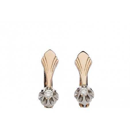 Auksiniai auskarai su briliantu - Auksiniai auskarai - Goldinga