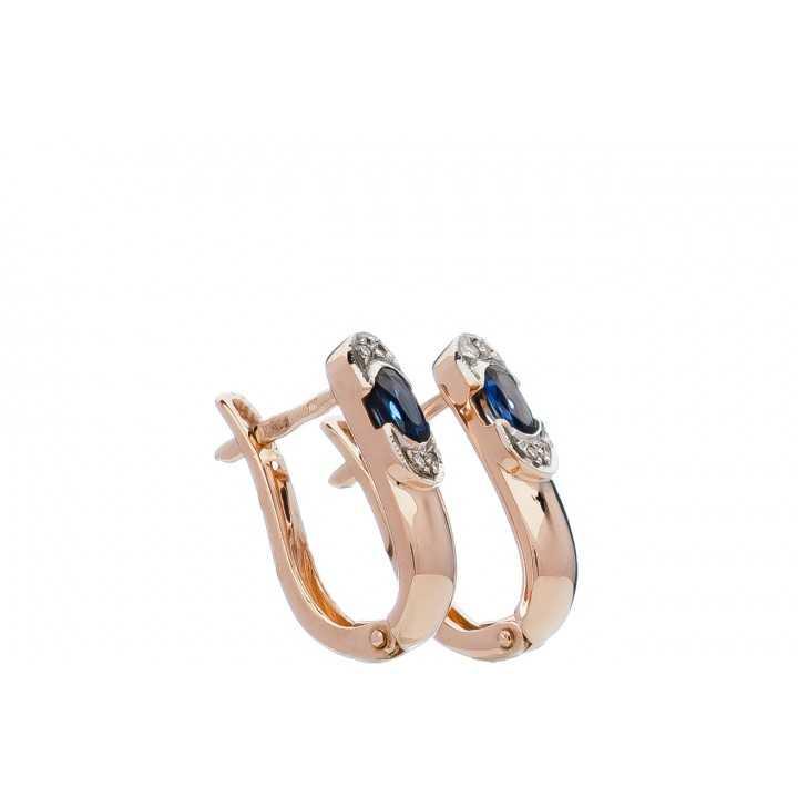Auksiniai auskarai su safyru ir briliantais - Auksiniai auskarai - Goldinga