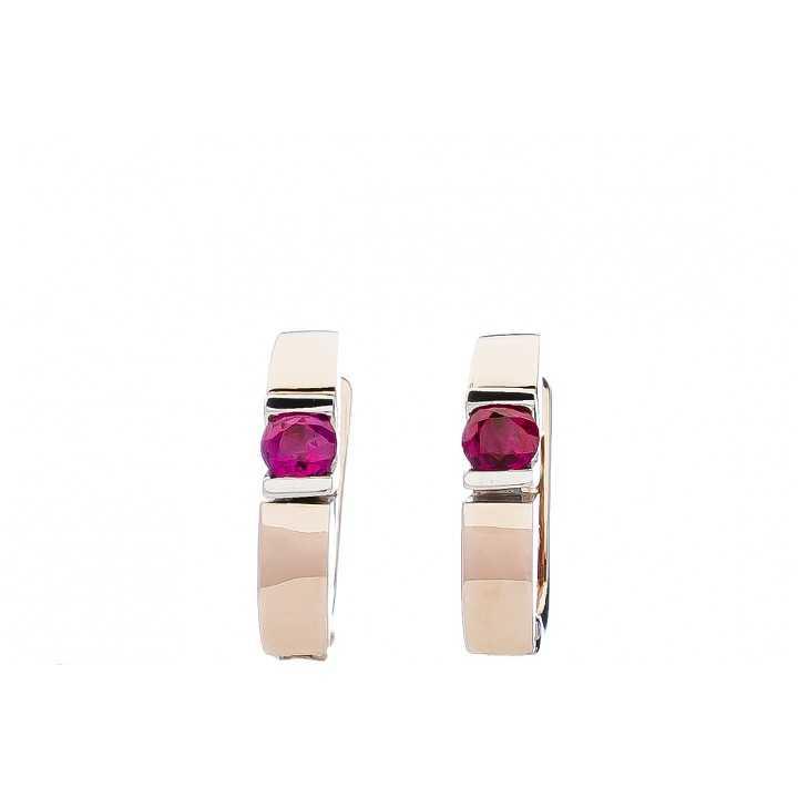 Auksiniai auskarai su rubinu - Auksiniai auskarai - Goldinga