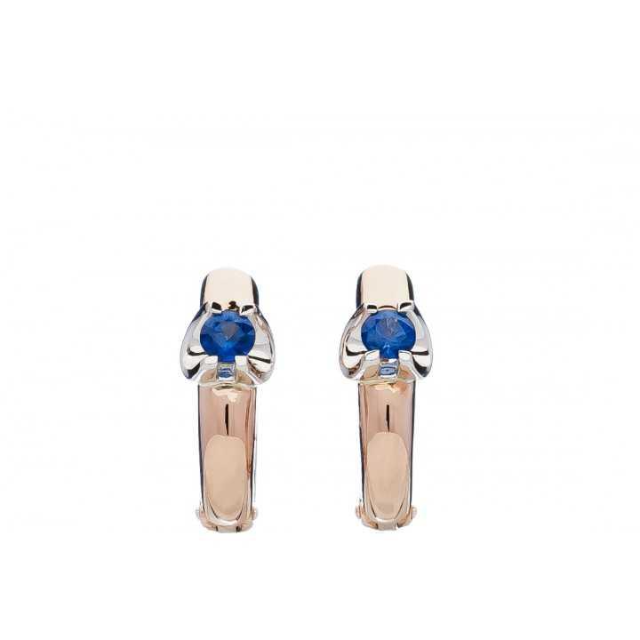 Auksiniai auskarai su safyru - Auksiniai auskarai - Goldinga