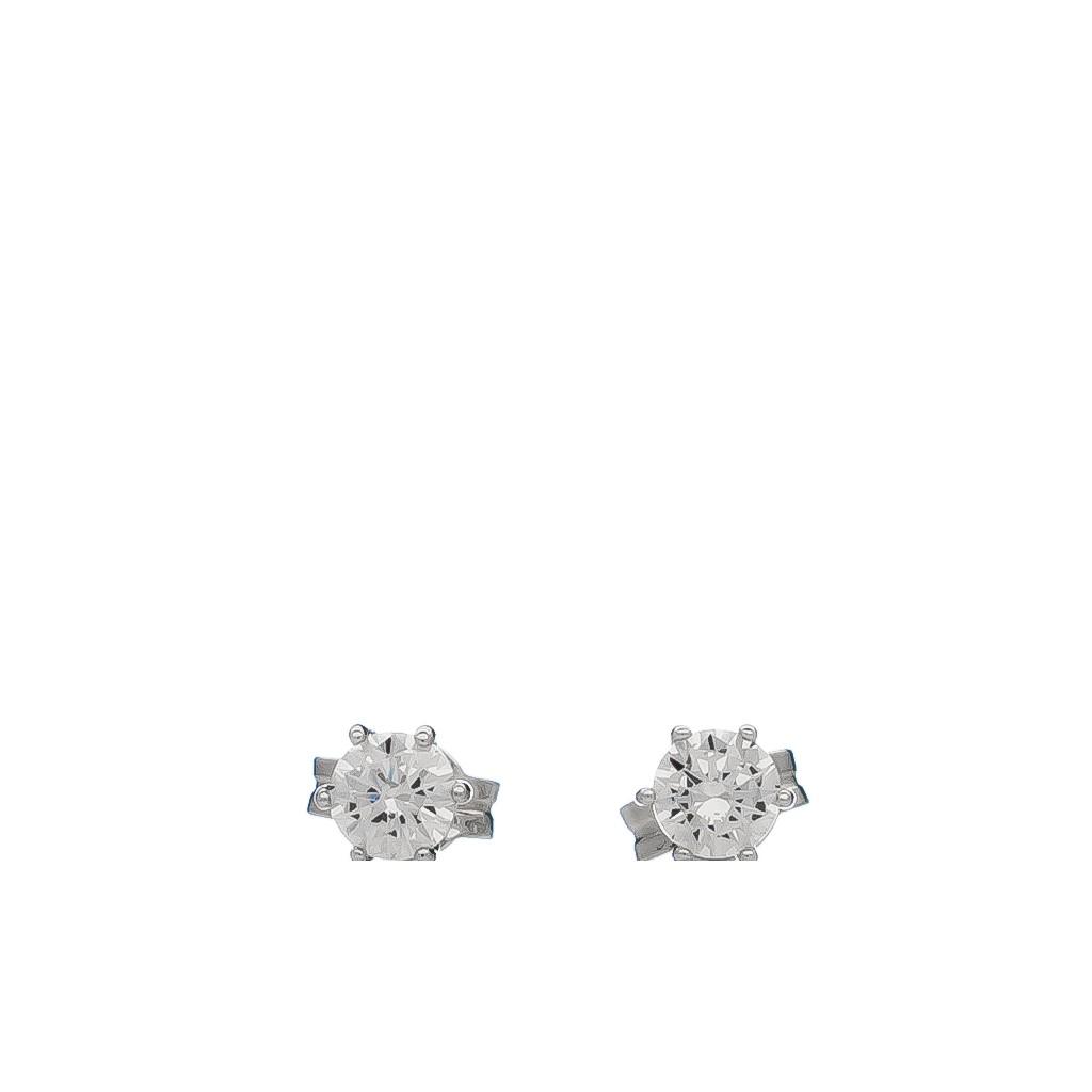 Balto aukso auskarai su cirkoniu - Auksiniai auskarai - Goldinga