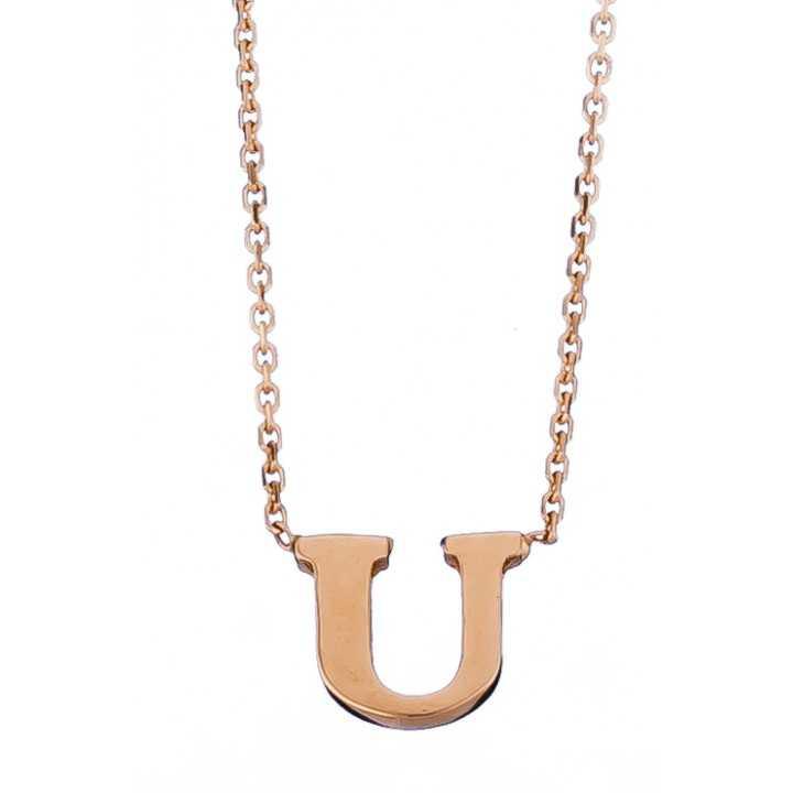 Auksinė grandinėlė su pakabuku raide U - Auksinės grandinėlės su pakabukais - Goldinga