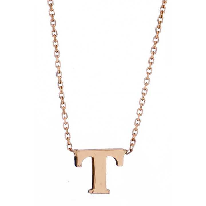 Auksinė grandinėlė su pakabuku raide T - Auksinės grandinėlės su pakabukais - Goldinga