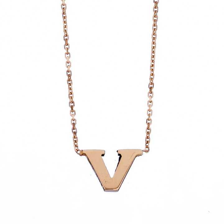 Auksinė grandinėlė su pakabuku raide V - Auksinės grandinėlės su pakabukais - Goldinga