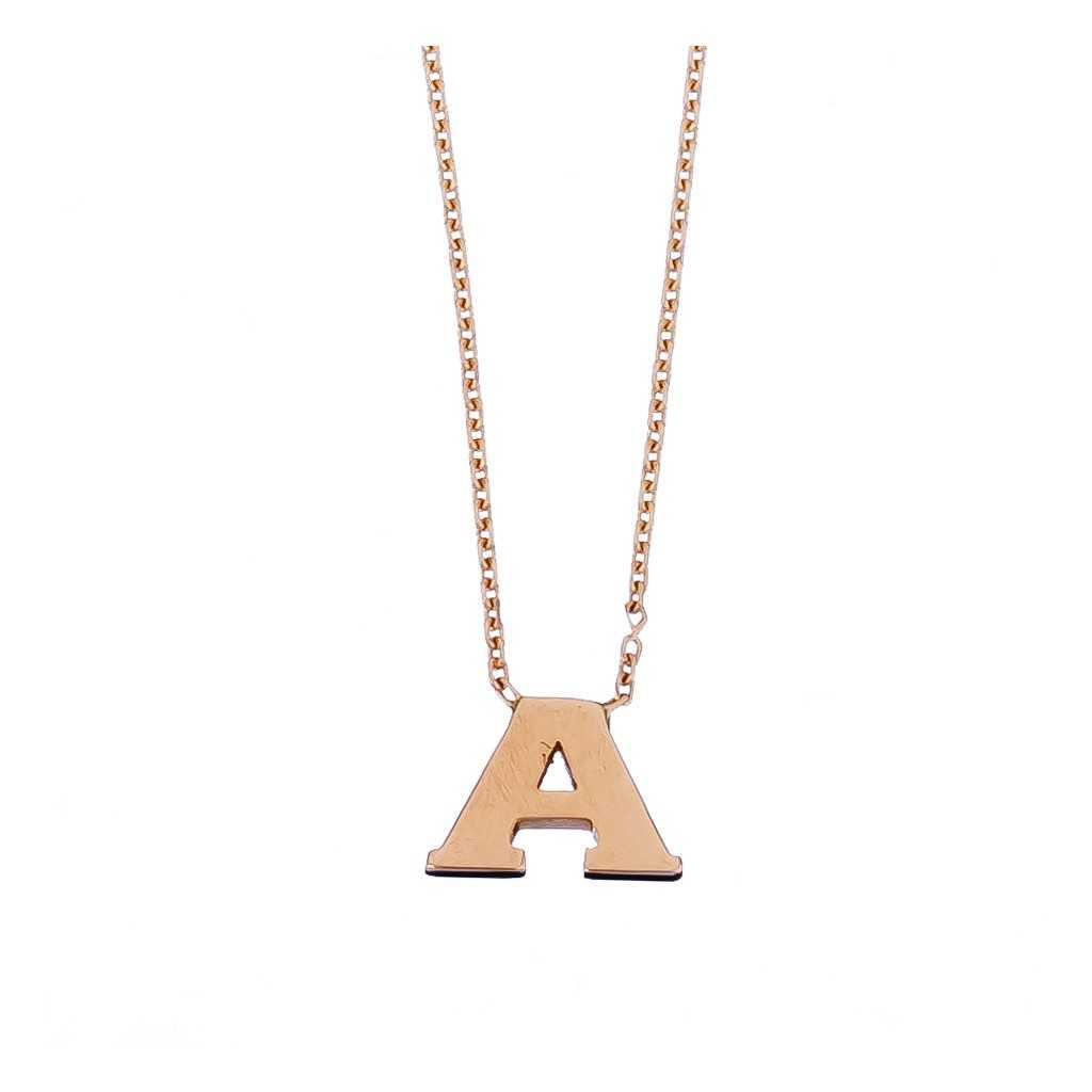 Auksinė grandinėlė su pakabuku raide A - Auksinės grandinėlės su pakabukais - Goldinga