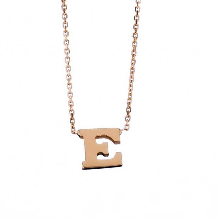 Auksinė grandinėlė su pakabuku raide E - Auksinės grandinėlės su pakabukais - Goldinga