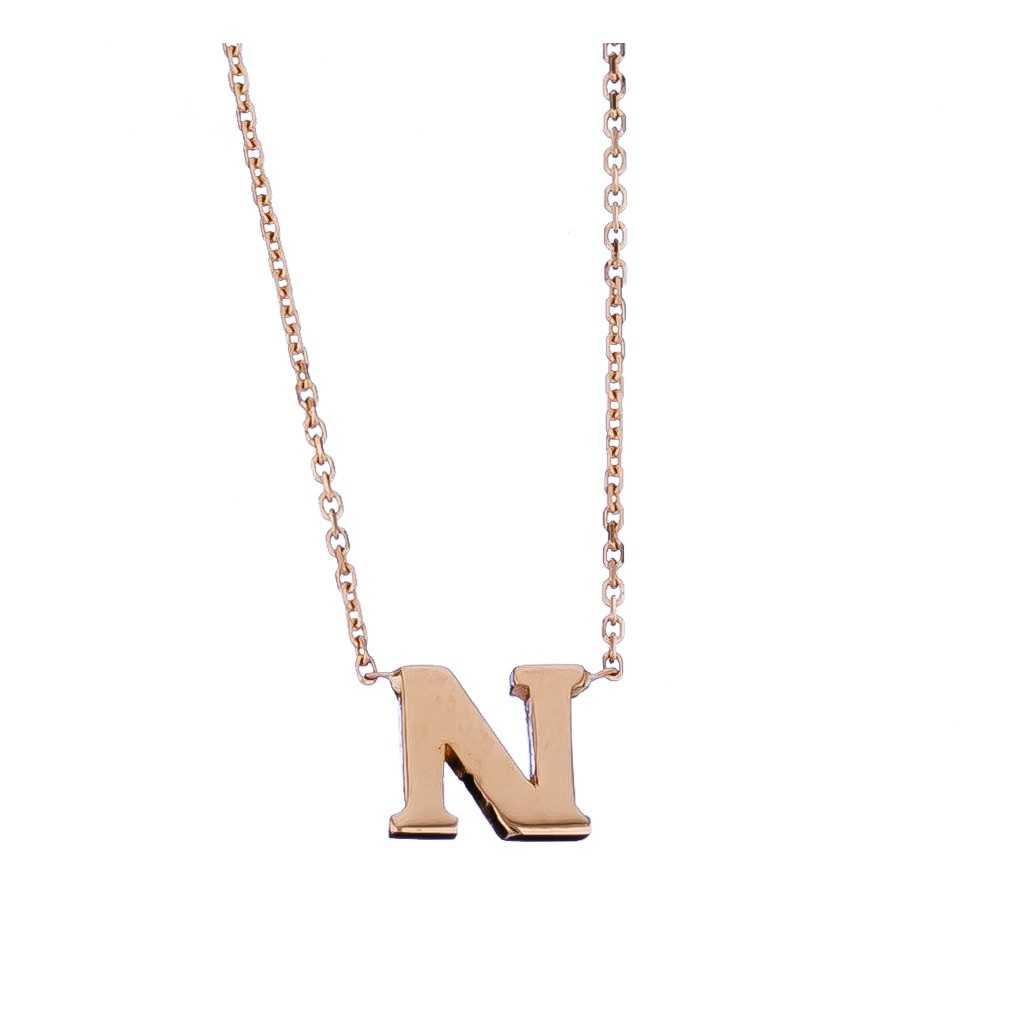 Auksinė grandinėlė su pakabuku raide N - Auksinės grandinėlės su pakabukais - Goldinga