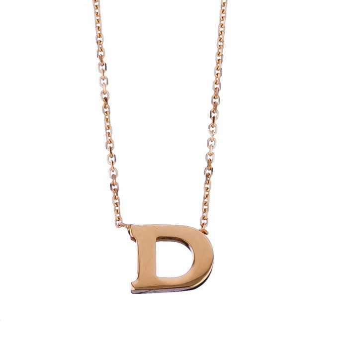 Auksinė grandinėlė su pakabuku raide D - Auksinės grandinėlės su pakabukais - Goldinga