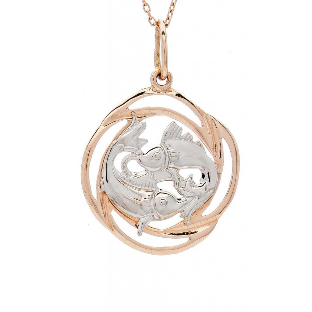 """Auksinis pakabukas """"Žuvys"""" - Zodiako ženklai - Goldinga"""