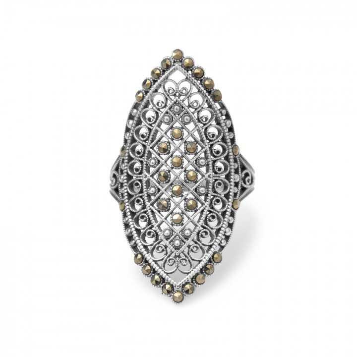 Sidabrinis žiedas su markazitais - Sidabriniai žiedai - Goldinga