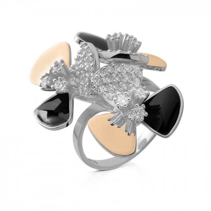 Sidabrinis žiedas su cirkoniais dengti auksu - Sidabriniai žiedai - Goldinga