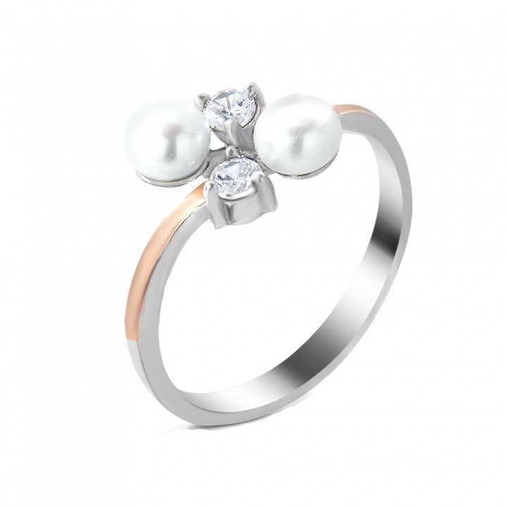 Sidabrinis žiedas su perlu dengtas auksu - Sidabriniai žiedai - Goldinga