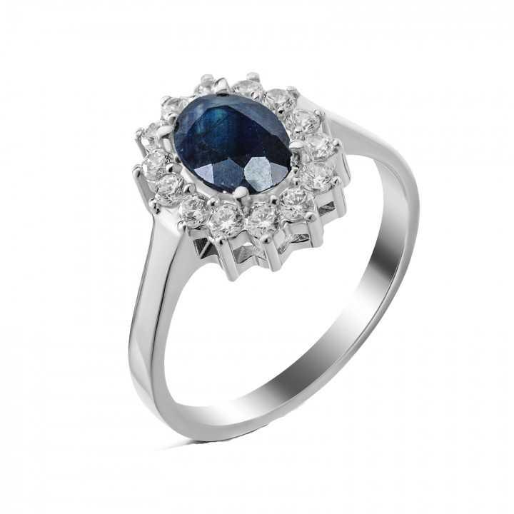 Sidabrinis žiedas su safyru - Sidabriniai žiedai - Goldinga