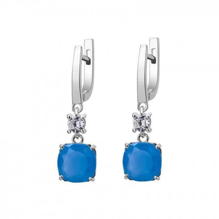 Sidabriniai auskarai su mėlynuoju kvarcu ir cirkoniu - Sidabriniai auskarai - Goldinga