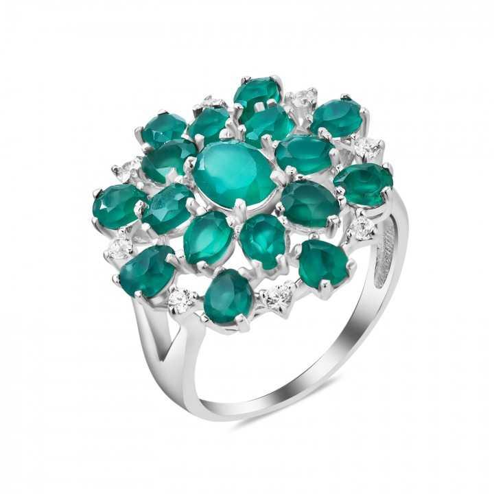 Sidabrinis žiedas su agatais ir cirkoniais - Sidabriniai žiedai - Goldinga