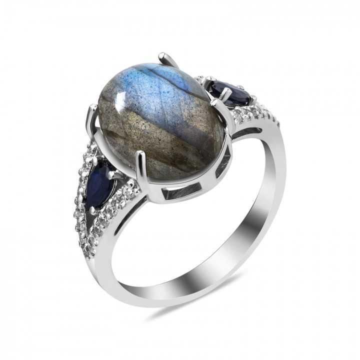 Sidabrinis žiedas su labradoritu ir cirkoniais - Sidabriniai žiedai - Goldinga