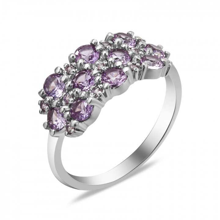 Sidabrinis žiedas su aleksandritais - Sidabriniai žiedai - Goldinga