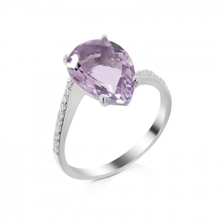 Sidabrinis žiedas su ametistu ir cirkoniais - Sidabriniai žiedai - Goldinga