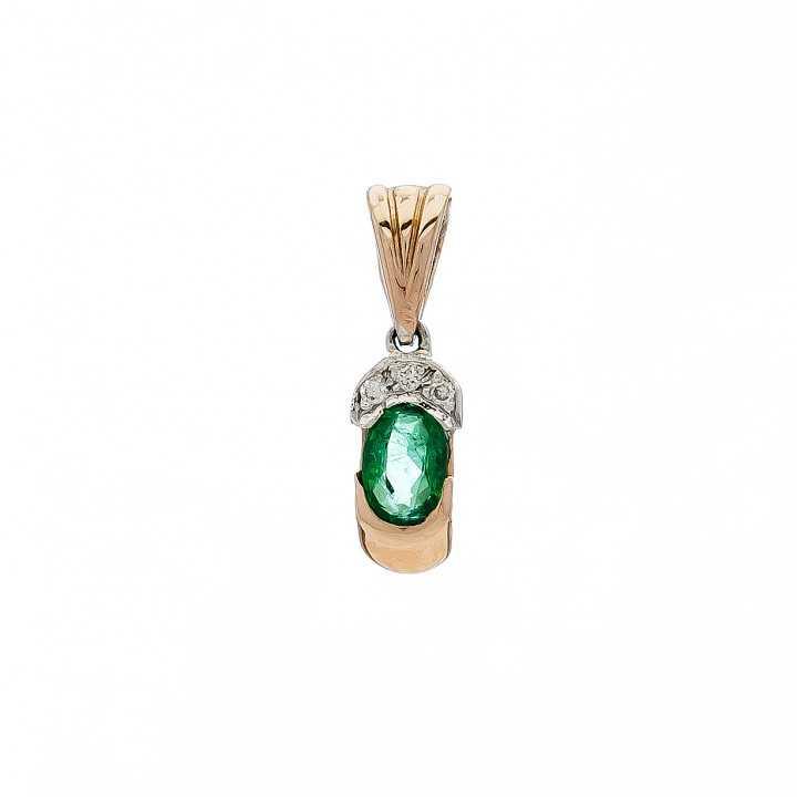 Auksinis pakabukas su smaragdu ir briliantais - Pakabukai su brangakmeniais - Goldinga