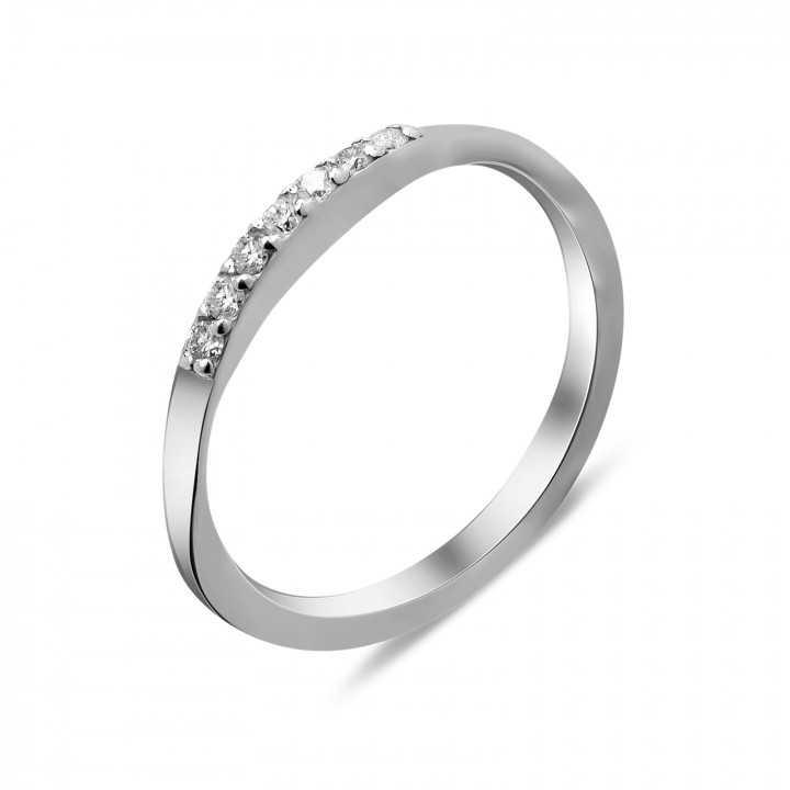 Sidabrinis žiedas su deimantais - Žiedai su brangakmeniais - Goldinga