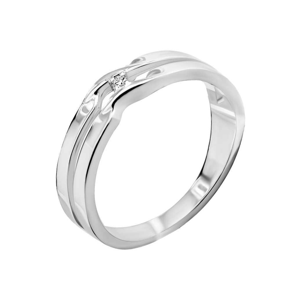 Sidabrinis žiedas su briliantu - Žiedai su brangakmeniais - Goldinga