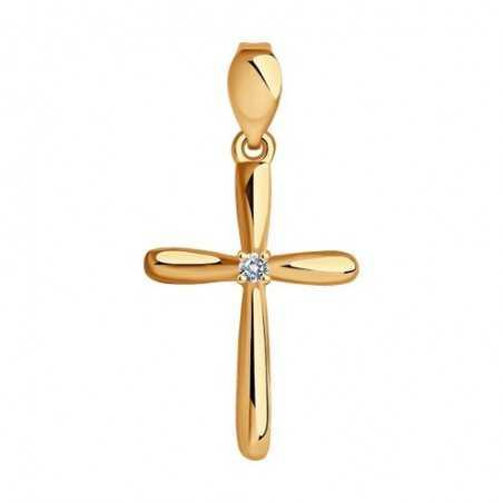 """Auksinis pakabukas su cirkoniu """"Kryželis"""" - Kryželiai ir ikonos - Goldinga"""