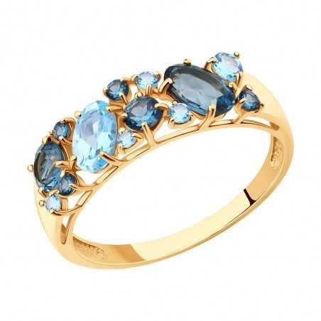 Auksinis žiedas su London topazais - Auksiniai žiedai - Goldinga