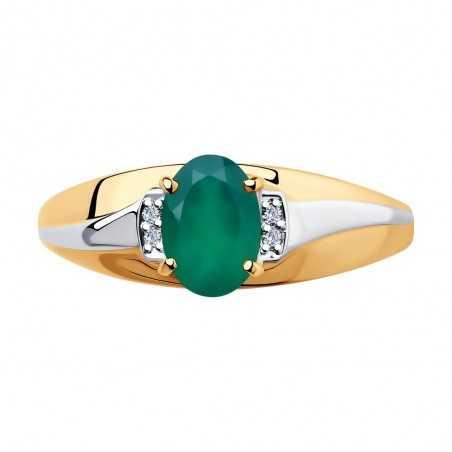 Auksinis žiedas su agatu ir cirkoniais - Auksiniai žiedai - Goldinga