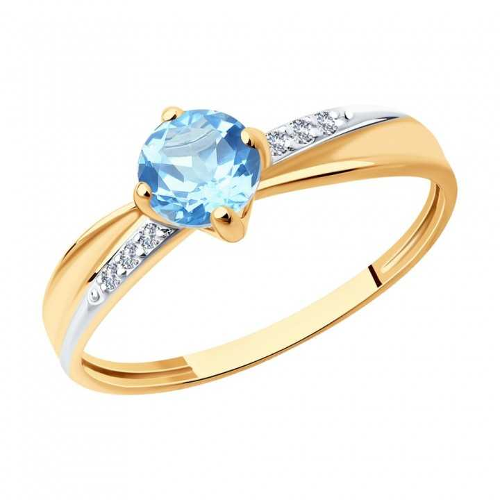 Auksinis žiedas su topazu ir cirkoniais - Auksiniai žiedai - Goldinga