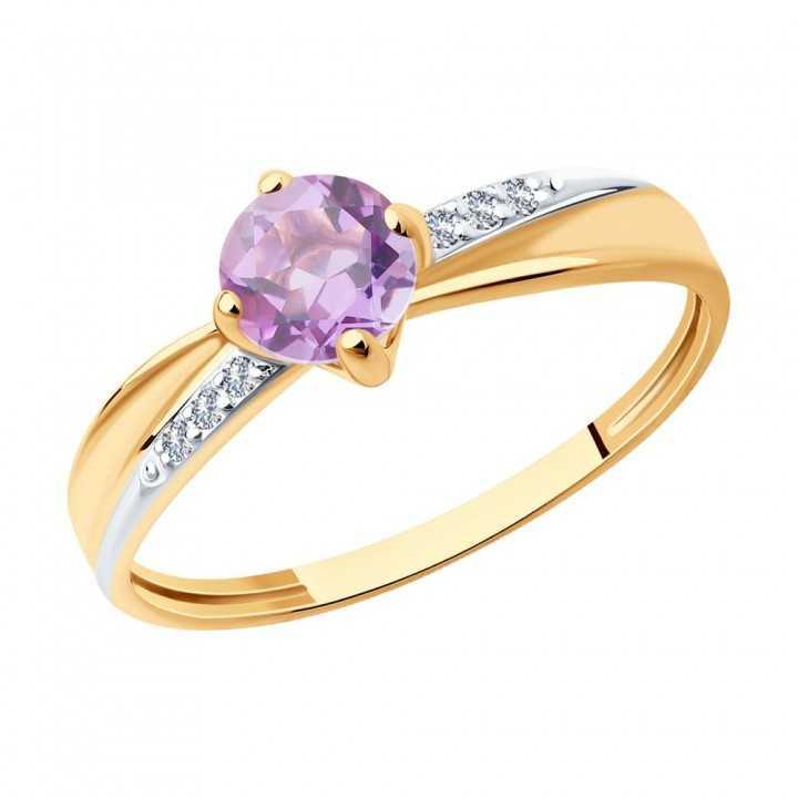 Auksinis žiedas su ametistu ir cirkoniais - Auksiniai žiedai - Goldinga