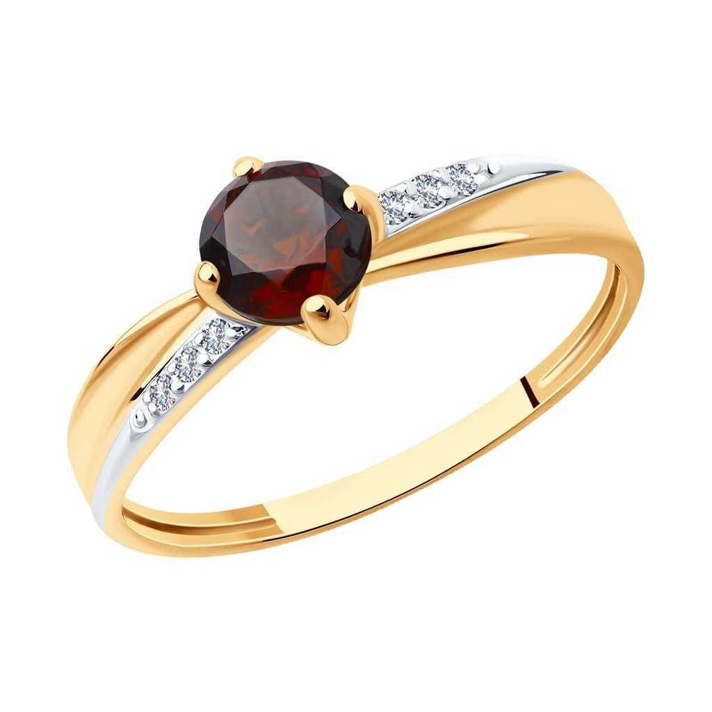 Auksinis žiedas su granatu ir cirkoniais - Auksiniai žiedai - Goldinga