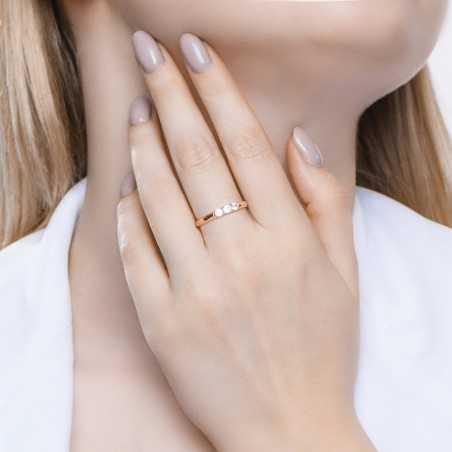 Auksinis žiedas su Swarovski kristalais - Auksiniai žiedai - Goldinga
