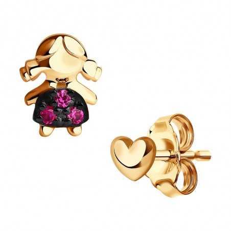 Auksiniai auskarai su korundais - Auksiniai auskarai - Goldinga